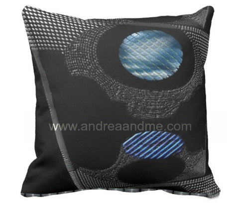 Blue, Black and Gray Bold Design Accent Pillow www.andreaandme.com