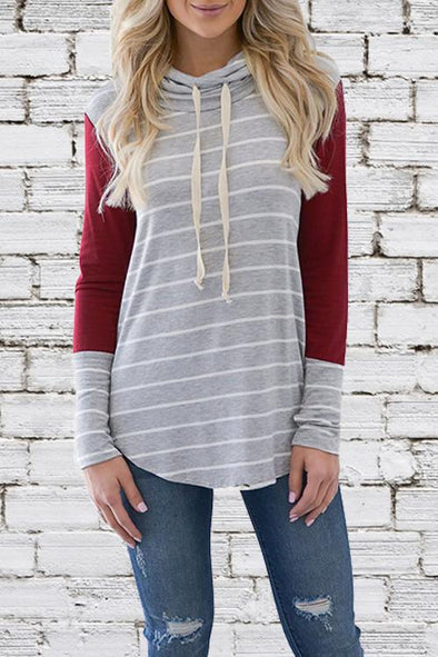 Striped Long Sleeve Stitching Hoodie