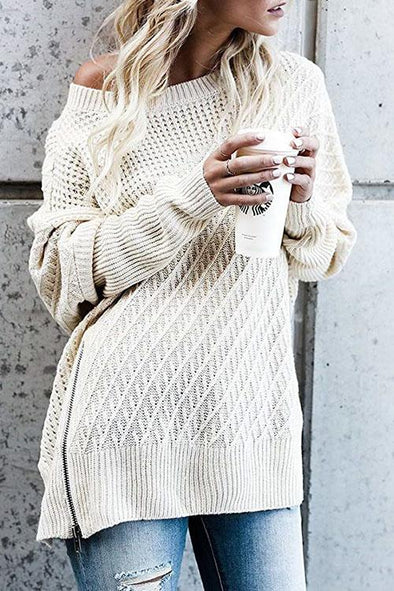 Zip Bat Sleeve Off-the-shoulder Sweater