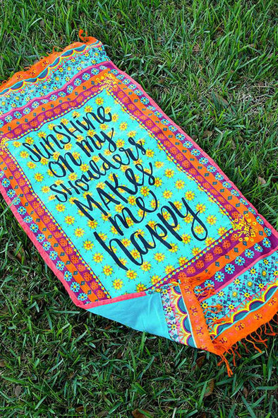 E&C Light Blue Slogan Floral Tribal Print Fringed Boho Rectangle Beach Throw