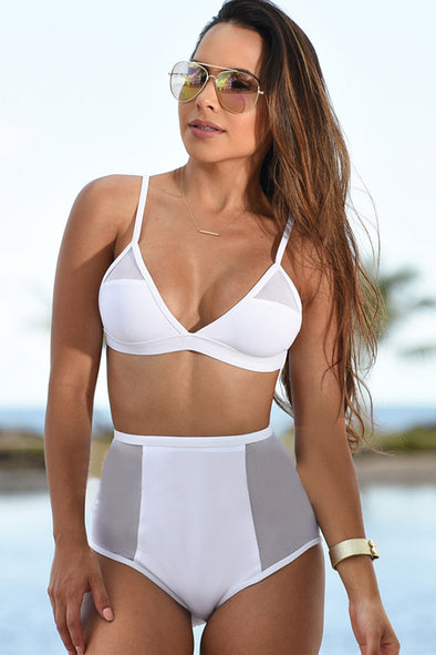 E&C White Mesh Triangle High Waisted Sexy Two Piece Bikini Swimsuit