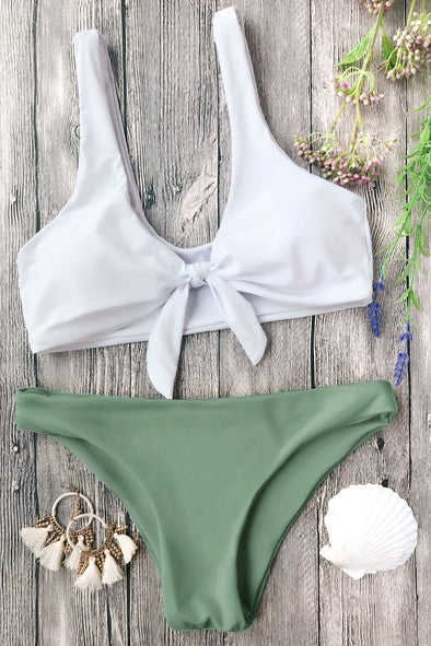 E&C Army Green Scoop Knotted Cheeky Sexy Bikini Swimsuit
