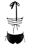 E&C Black Strappy Halter Lace Up Plunge Cutout Sexy Monokini Swimsuit