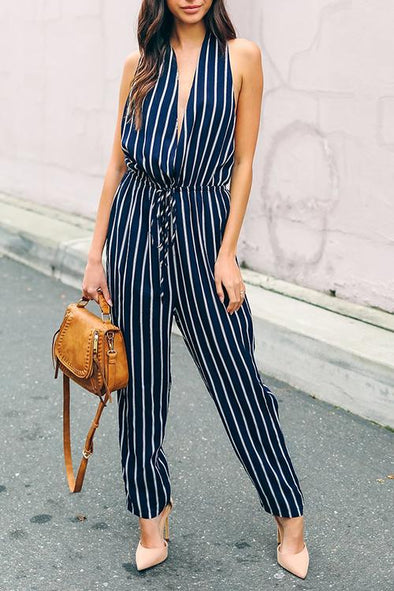 Striped V-neck Sleeveless Lace Jumpsuit