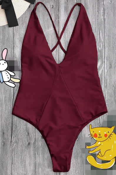E&C Burgundy Plunge V Neck High Cut Cross Back Sexy One Piece Swimsuit