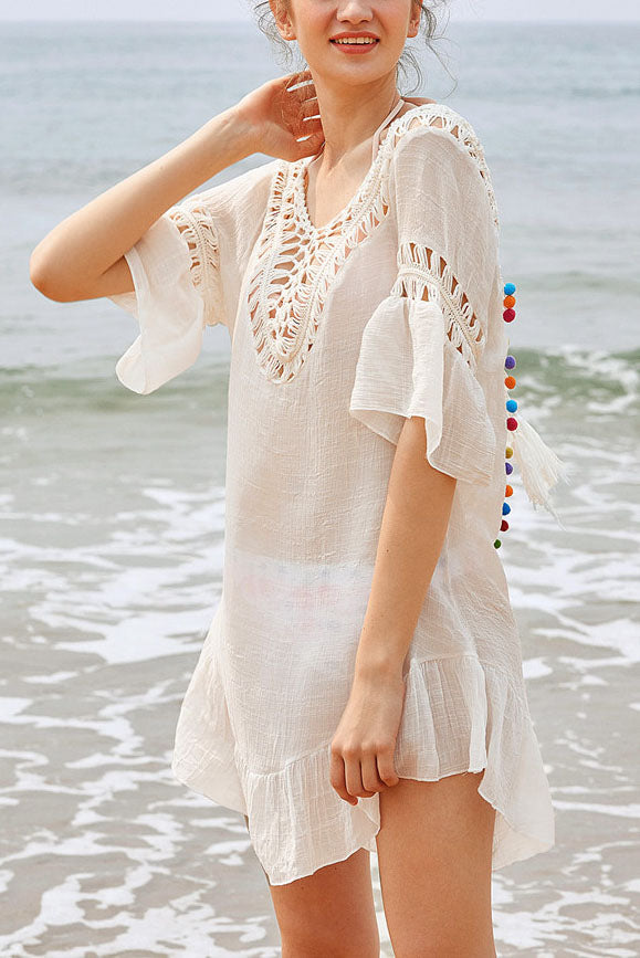 E&C White Crochet Backless Tassel Tied Pom Pom Ruffle Sexy Beach Cover Up Tunic