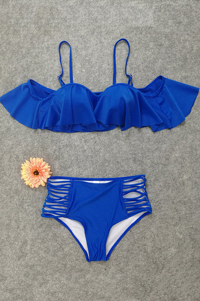 E&C Blue Ruffled Strappy High Waisted Sexy Two Piece Swimsuit