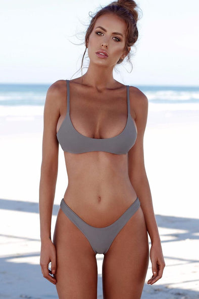 E&C Grey High Cut Cheeky Sexy Bikini Swimsuit