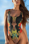 E&C Black Tribal African Print Scoop Neck High Cut Sexy One Piece Swimsuit Bathing Suit