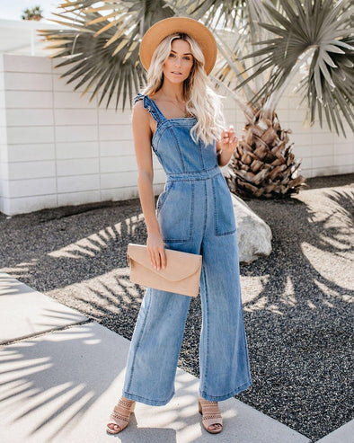 Casual Ladies Denim Jumpsuit