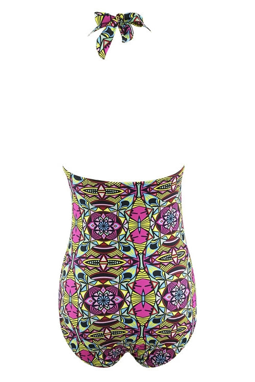 E&C Fuchsia Halter Scoop Neck African Tribal Print Strappy Cutout Braided Backless Sexy Monokini