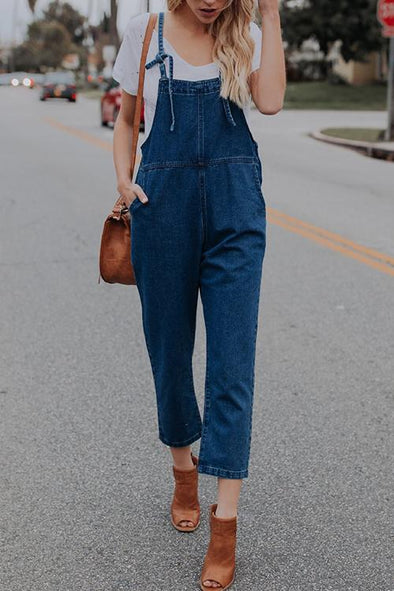 Nostalgic Loose Denim Jumpsuit