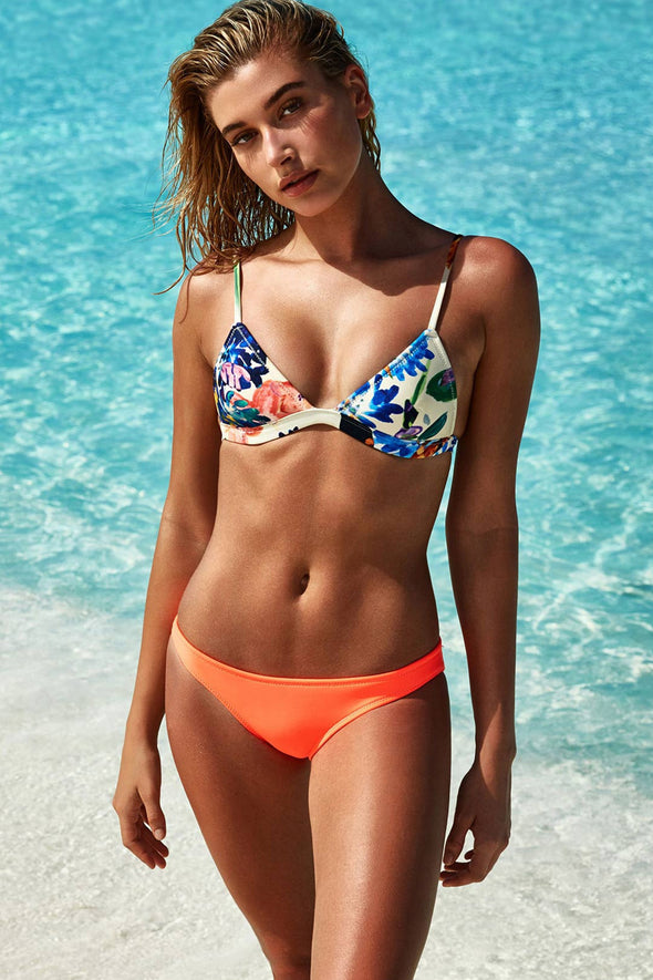 E&C Orange Floral Print Triangle Sexy Two Piece Bikini Swimsuit