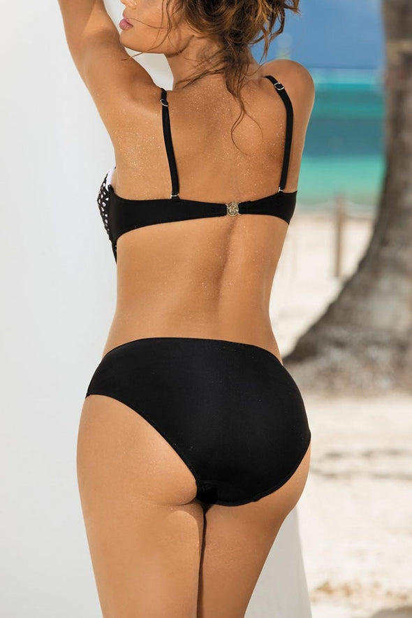 E&C Black Push Up Hollow Out Sexy Monokini One Piece Swimsuit