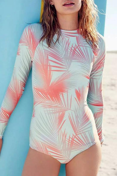 ORANGE SURF LEAF LONG SLEEVE RASH GUARD ONE PIECE SWIMSUIT