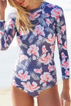 PURPLE SURF FLORAL LONG SLEEVE RASH GUARD ONE PIECE SWIMSUIT