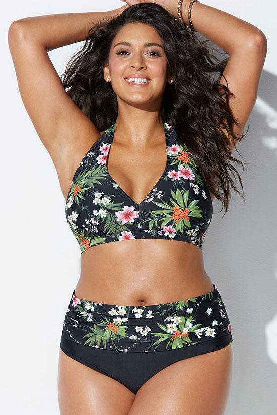 PLUS SIZE FLORAL PRINTED HALTER BIKINI - TWO PIECE SWIMSUIT