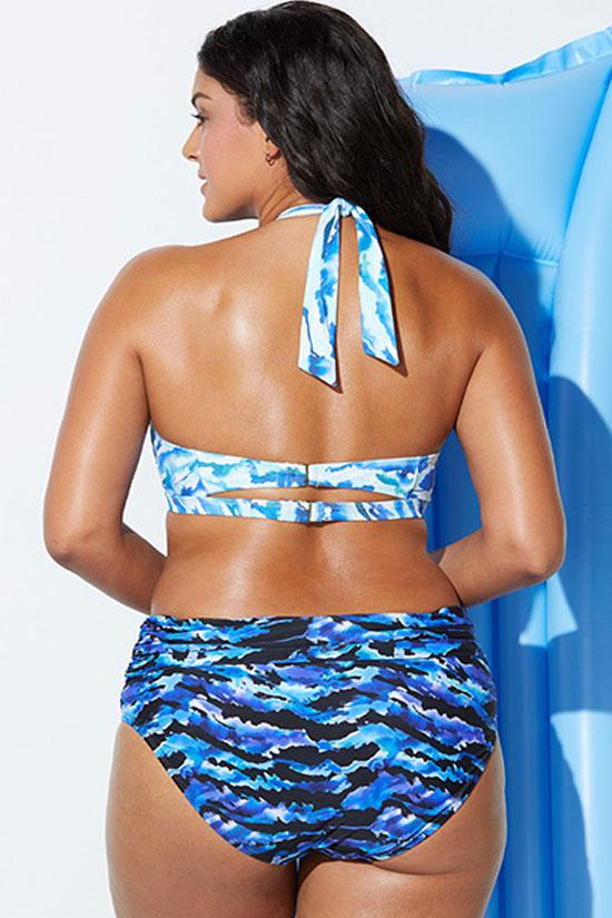 PLUS SIZE WAVE PRINTED HALTER BIKINI - TWO PIECE SWIMSUIT