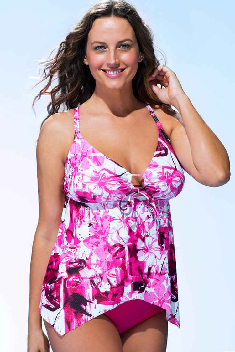 1cd807863e9b6 PLUS SIZE FLORAL PRINTED LAYERED RUFFLE TANKINI - TWO PIECE SWIMSUIT –  elleschic