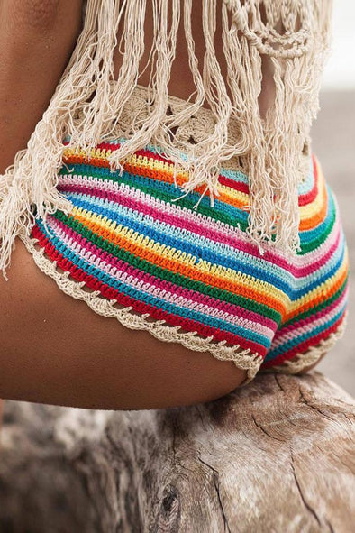 HIGH WAIST RAINBOW CROCHET BIKINI BOTTOM