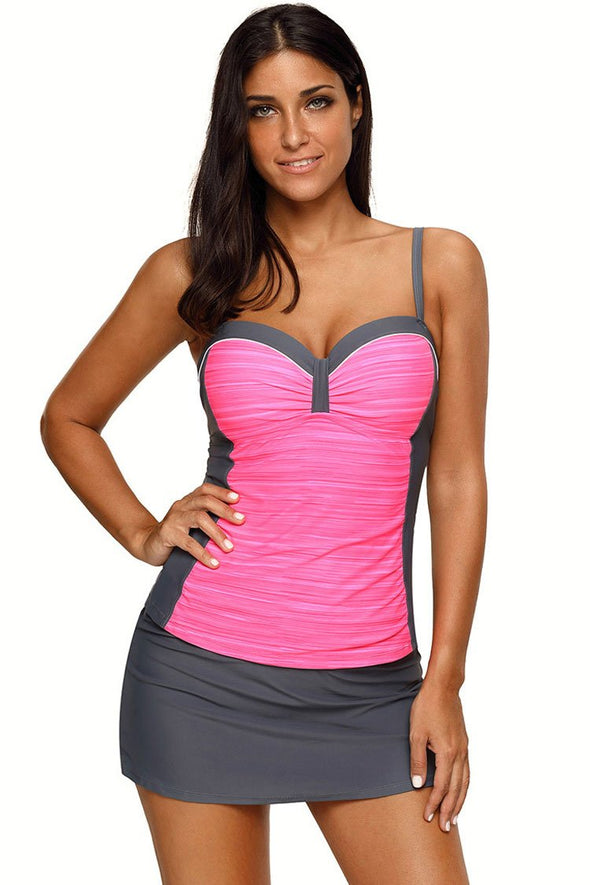 CONTRAST COLOR UNDERWIRE PANTSKIRT TANKINI SWIMSUIT - TWO PIECE SET