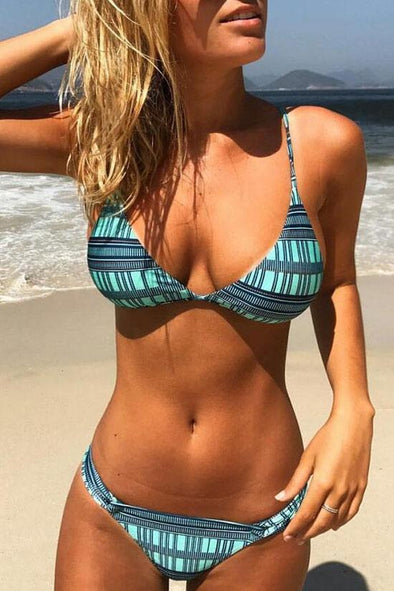 ETHNIC HALTER SLIDED TRIANGLE BIKINI - TWO PIECE SWIMSUIT