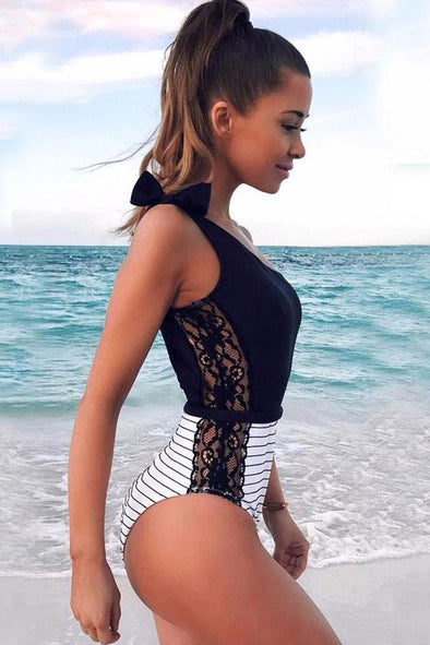 TIED ONE SHOULDER STRIPED SPLICING LACE ONE PIECE SWIMSUIT