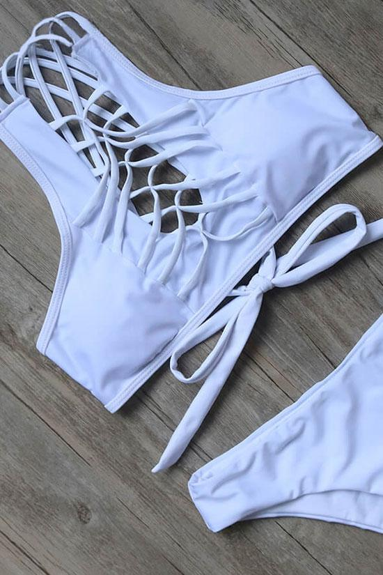 SOLID CROSS STRAPPY HIGH NECK BIKINI - TWO PIECE SWIMSUIT