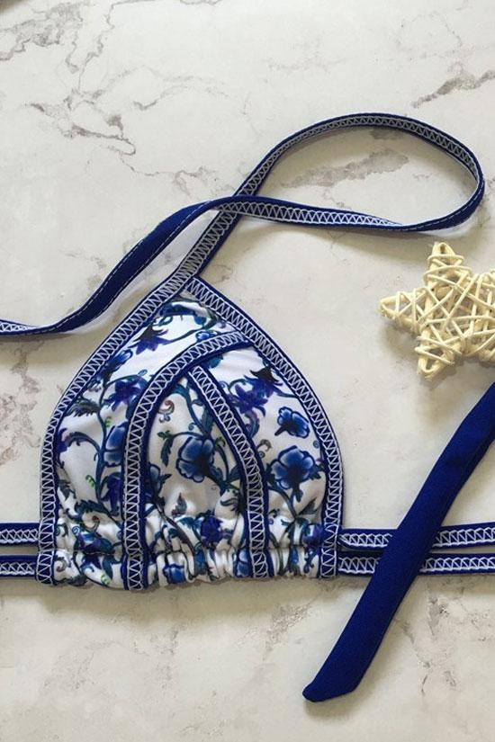 BOHO STYLE STRAPPY THONG SLIDE TRIANGLE BIKINI - TWO PIECE SWIMSUIT