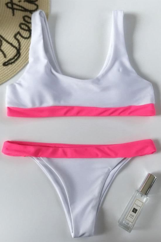 CONTRAST COLOR BANDED HIGH LEG CROP BIKINI - TWO PIECE SWIMSUIT