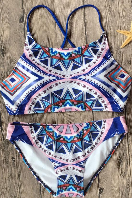 ETHNIC TIED BACK HIGH NECK BIKINI - TWO PIECE SWIMSUIT
