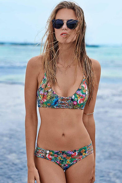 BRAIDED STRAPPY FLORAL PRINTED BRAZILIAN BIKINI  - TWO PIECE SWIMSUIT
