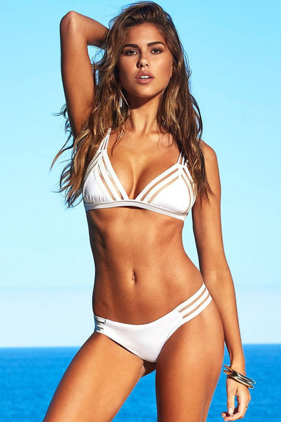 SPLICING MESH TRIANGLE BRAZILIAN BIKINI - TWO PIECE SWIMSUIT