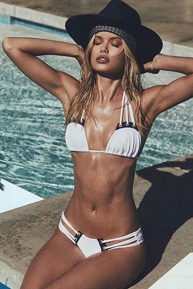 RIBBED STRAPPY SLIDE TRIANGLE BIKINI - TWO PIECE SWIMSUIT