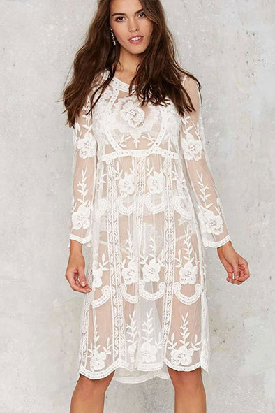 SCALLOP EDGE CROCHET FLORAL SHEER MESH COVER UP DRESS