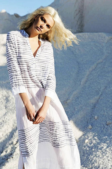 STRIPED PRINTED BUTTON-UP MAXI COVER UP