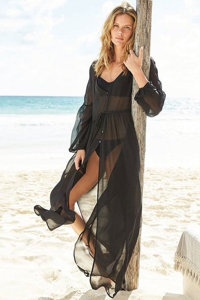 BISHOP SLEEVE SPLIT THIGH SHEER CHIFFON MAXI COVER UP DRESS