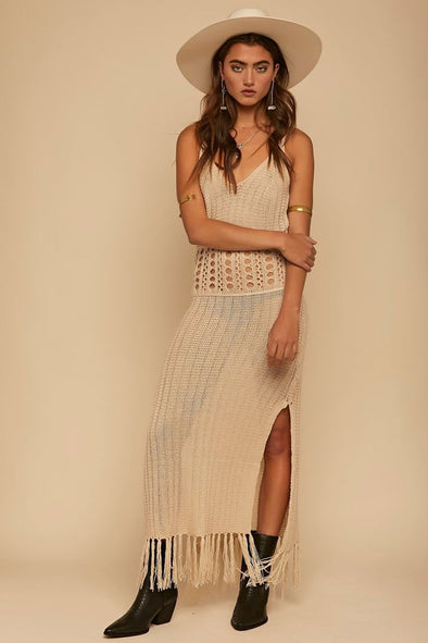 BOHO FRINGED SPLIT HOLLOW OUT CROCHET COVER UP DRESS