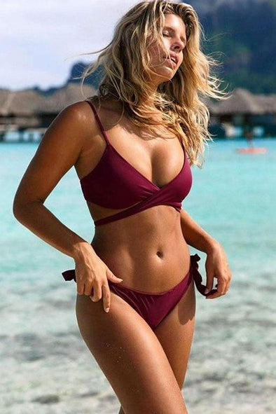 SOLID TIE SIDE CROSS WRAP BIKINI - TWO PIECE SWIMSUIT