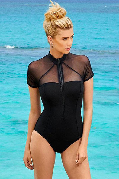 BLACK CUTOUT BACK SHORT SLEEVE ZIPPER SPLICING MESH ONE PIECE SWIMSUIT