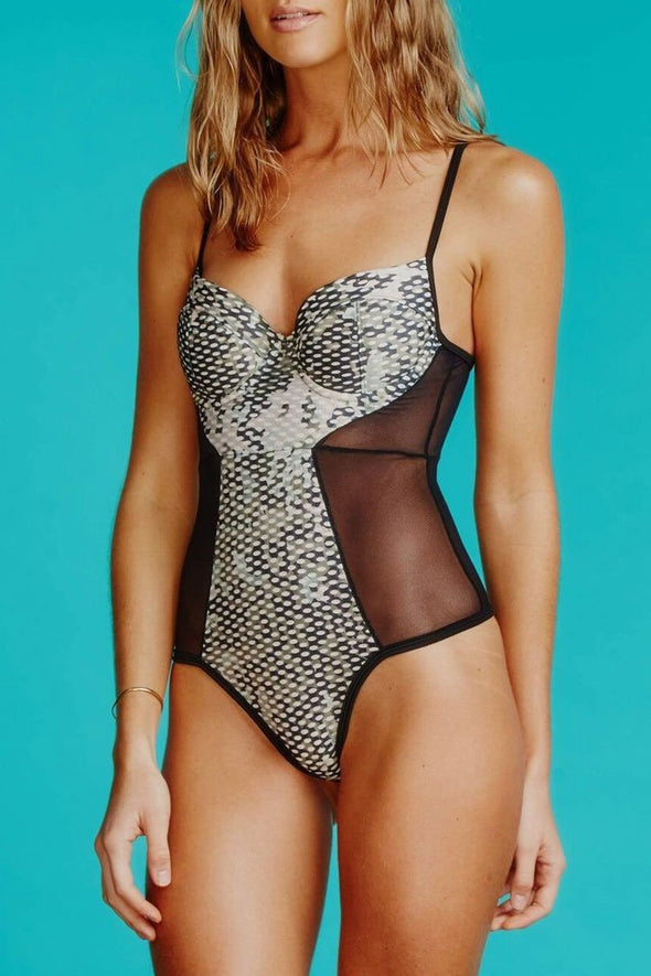 PUSH UP UNDERWIRE SPLICING MESH BODICE ONE PIECE SWIMSUIT