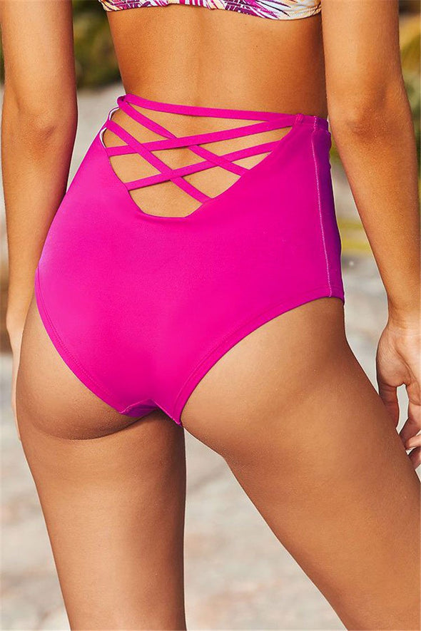 CHARMING PALM LEAF HIGH WAIST TRIANGLE BIKINI - TWO PIECE SWIMSUIT