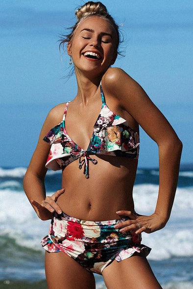 FLORAL PRINTED RUFFLE TIED FRONT HIGH WAISTED BIKINI - TWO PIECE SWIMSUIT