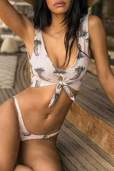 PINEAPPLE PRINTED KNOTTED FRONT CROP BIKINI - TWO PIECE SWIMSUIT