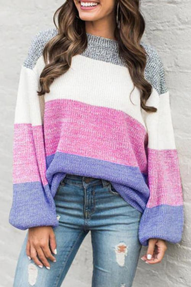 Casual Patchwork Multicolor Sweater