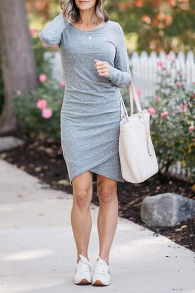 Casual Long Sleeve Open Mini Dress