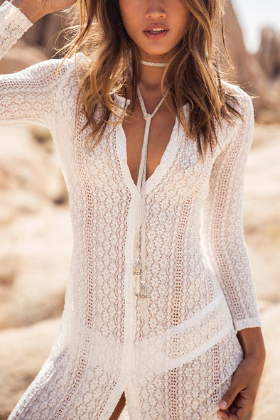 E&C White Boho Sheer Lace Long Sexy Beach Cover Up Dress