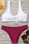 E&C White Burgundy Scoop Knotted Cheeky Sexy Bikini Swimsuit