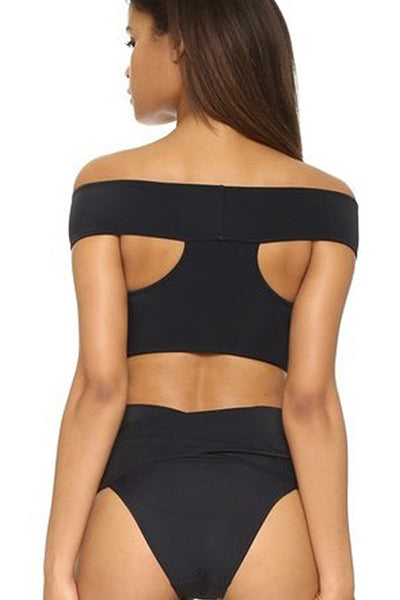 E&C Black Off The Shoulder High Waisted Sexy Two Piece Swimsuit