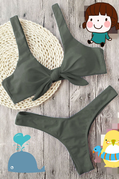 E&C Army Green Knotted High Cut Thong Scrunch Butt Sexy Bikini Swimsuit